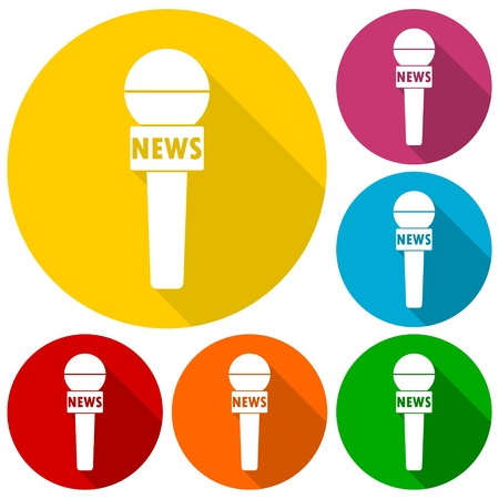news reporter: News reporter microphone icons set with long shadow