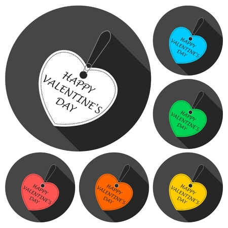bargain: Happy Valentines day tag (bargain) icons set with long shadow Illustration