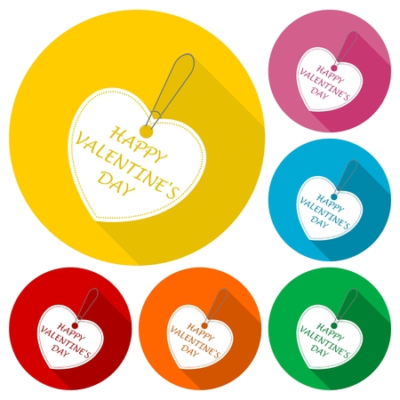 sellout: Happy Valentines day tag (bargain) icons set with long shadow Illustration