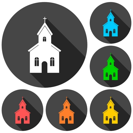 doctrine: Church building icons set with long shadow Illustration