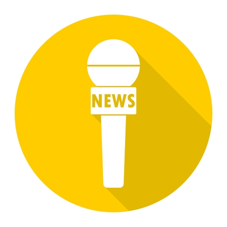 news reporter: News reporter microphone icon with long shadow