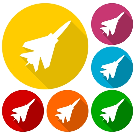 fighter plane: Fighter plane icons set with long shadow