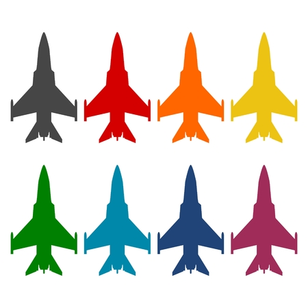 fighter plane: Fighter plane icons set