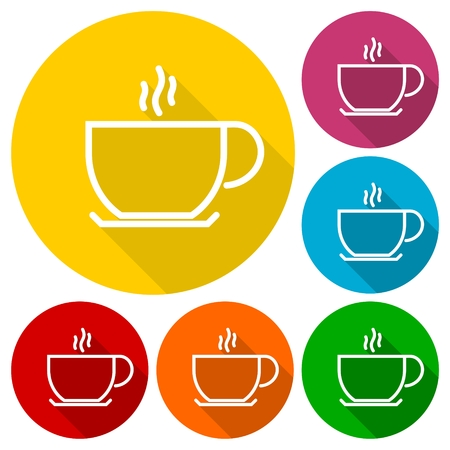 coffee cup vector: Coffee cup vector icons set with long shadow Illustration