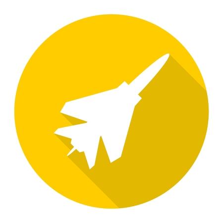 avion de chasse: Avion de combat ic�ne avec ombre Illustration
