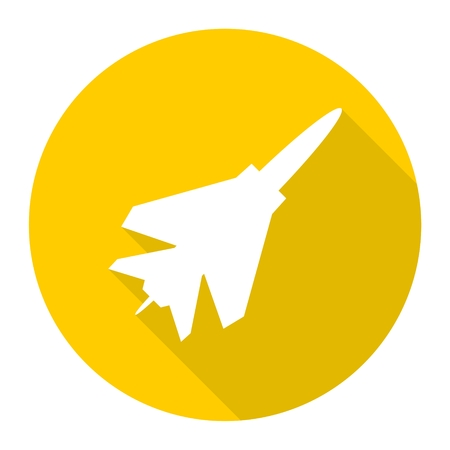 fighter plane: Fighter plane icon with long shadow