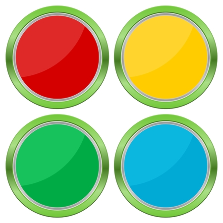web buttons: Four Web buttons, glossy empty buttons