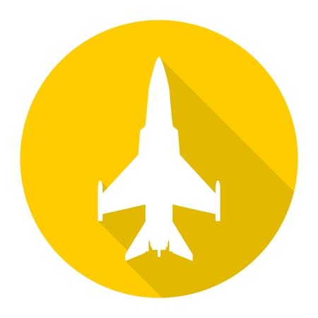 avion chasse: Avion de combat icône avec ombre Illustration