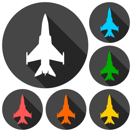 avion chasse: ic�nes Fighter planes d�finies avec ombre