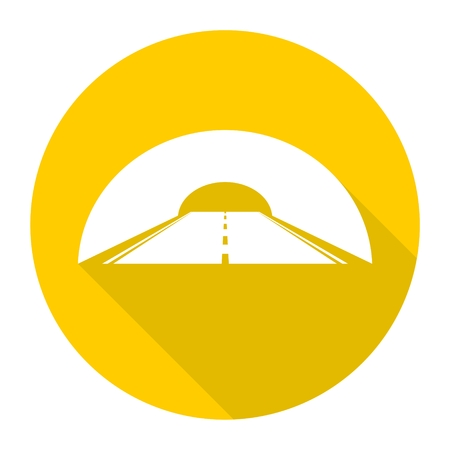 highway tunnels: Road with tunnel icon with long shadow Illustration