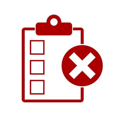 Lista de comprobación con la marca X Icono Foto de archivo - 58931629