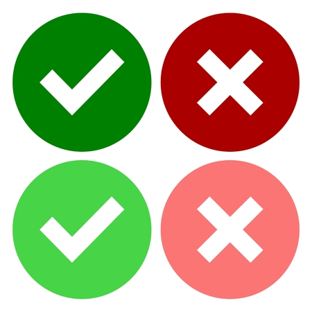 green check mark: A set of four web buttons, green check mark and red cross in two variants