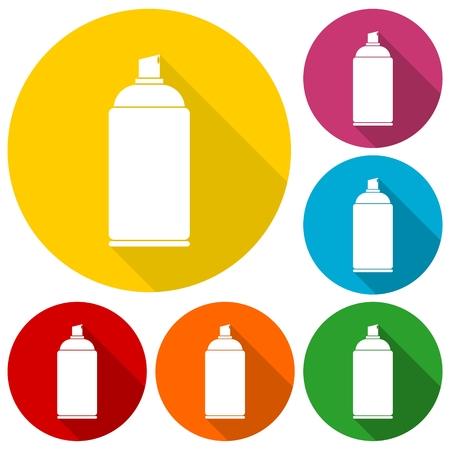 hair spray: Spray icons set with long shadow