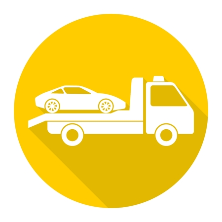 the wrecker: Car towing truck icon with long shadow