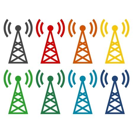 transmitter: Transmitter simple icons set