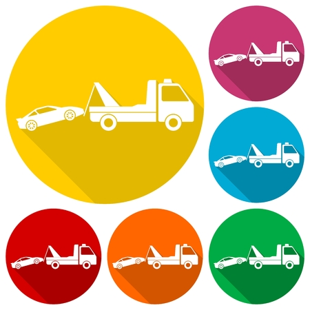 roadside assistance: Car towing truck icons set with long shadow Illustration