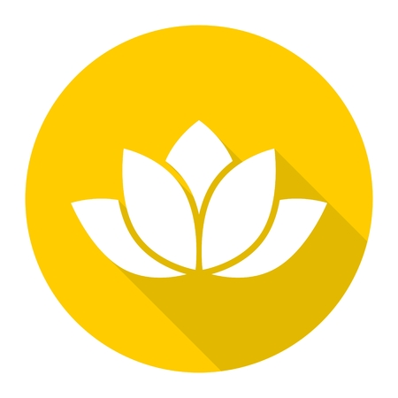 sutra: Lotus silhouette icon with long shadow Illustration