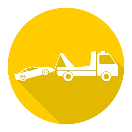 roadside assistance: Car towing truck icon with long shadow