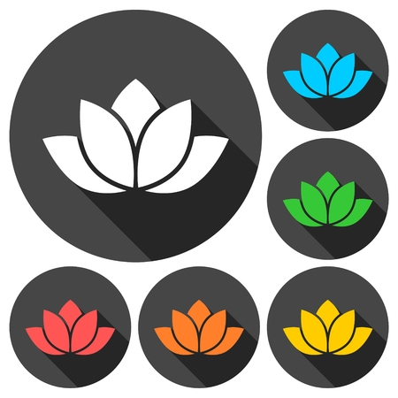 sutra: Lotus silhouette icons set with long shadow Illustration