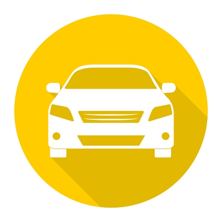 Car icon with long shadow