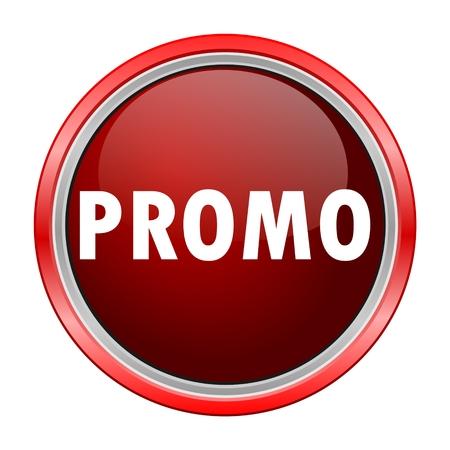 promo: Promo round metallic red button Illustration