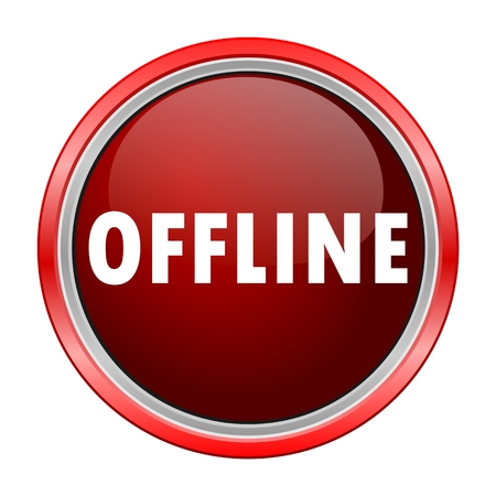 Offline round metallic red button