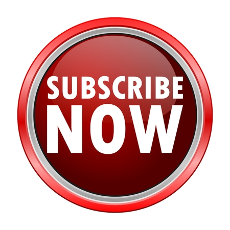 subscribe now: Subscribe Now round metallic red button