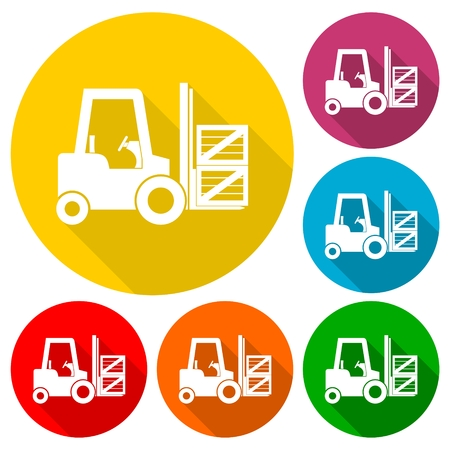 shipper: Forklift icons set with long shadow Illustration