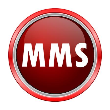 mms: MMS round metallic red button Illustration