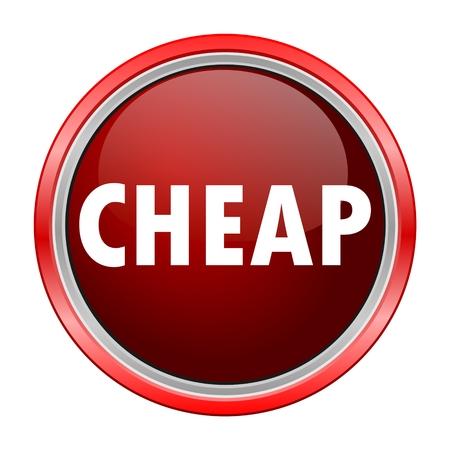 cheap: Cheap round metallic red button Illustration