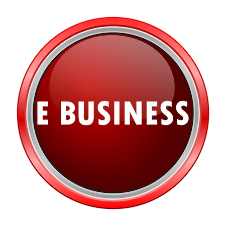 e business: E business round metallic red button