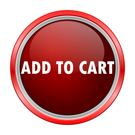 add button: Add to Cart round metallic red button Illustration