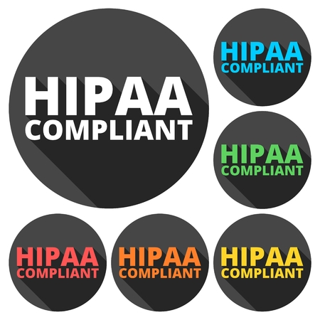 compliant: HIPAA - Health Insurance Portability and Accountability Act icons set with long shadow Illustration
