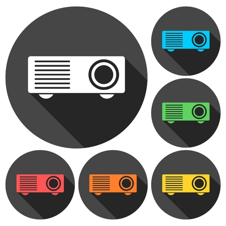 taught: Projector icons set with long shadow Illustration