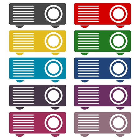 taught: Projector icons set Illustration