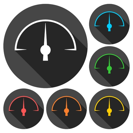 compression tank: Pressure gauge - Manometer icons set with long shadow