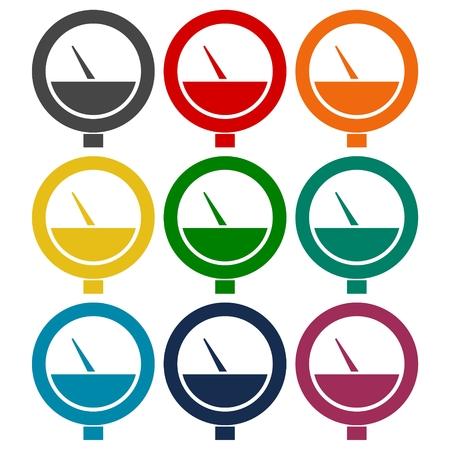 Manometer Icons Set