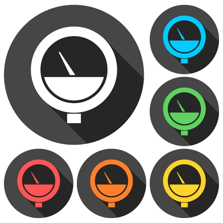 manometer: Manometer icons set with long shadow