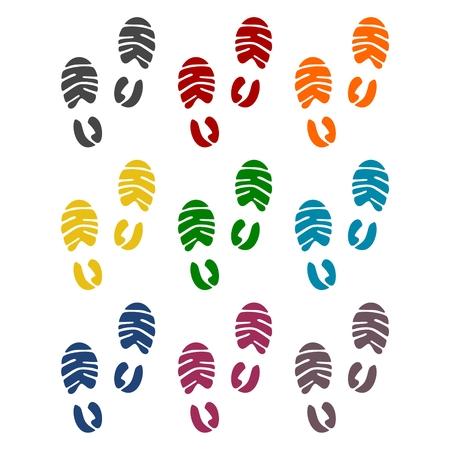 biometrics: Footprint sport shoe icons set Illustration