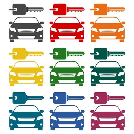 renter: Rent a Car Transportation design icons set