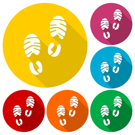 dirty feet: Footprint sport shoe icons set with long shadow