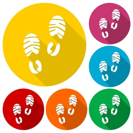 biometrics: Footprint sport shoe icons set with long shadow
