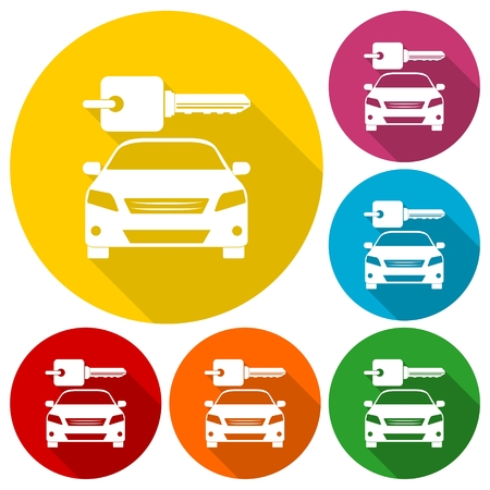 economy class: Rent a Car Transportation design icons set with long shadow Illustration