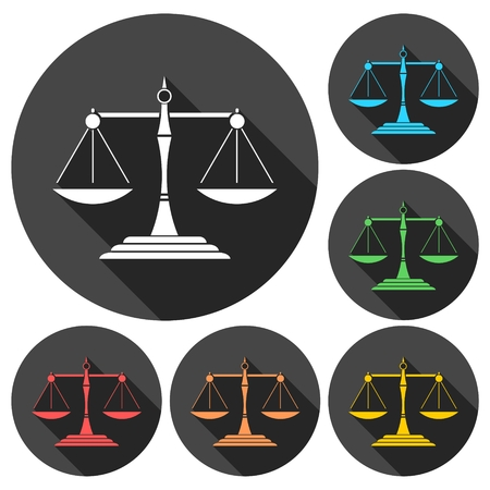 fair trial: Justice Scale Icons set with long shadow