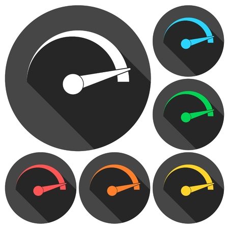 mileage: Speedometer icons set with long shadow