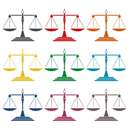 scale of justice: Justice Scale Icons set