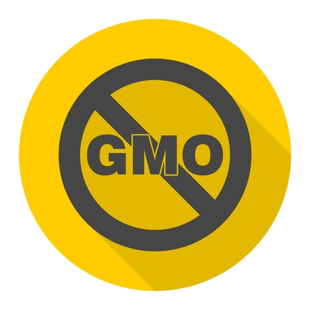 gmo: No GMO sign icon with long shadow