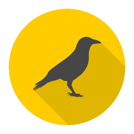 corvus: Crow (Raven) vector silhouette icon with long shadow Illustration