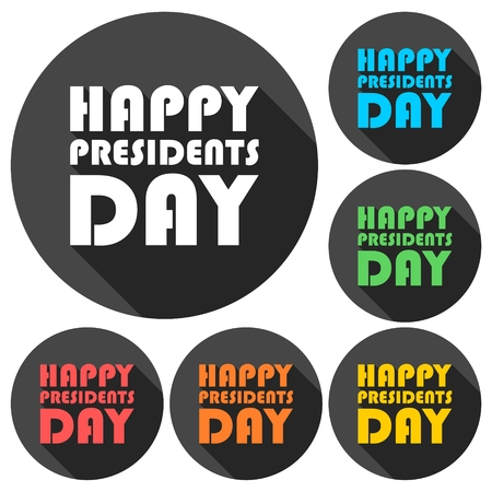 presidents: Happy Presidents Day icons set with long shadow Illustration