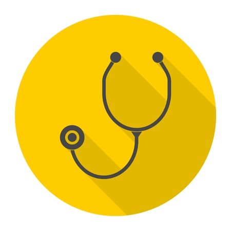 stetoscope: Stethoscope icon with long shadow